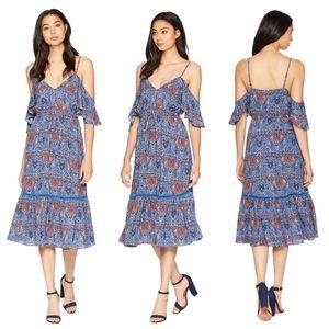 Jack by BB Dakota cold shoulder paisley blue dress